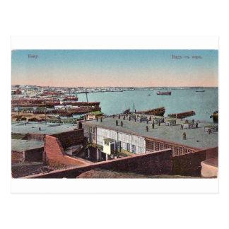Baku vieja - visión desde el mar Caspio - morya de Tarjeta Postal