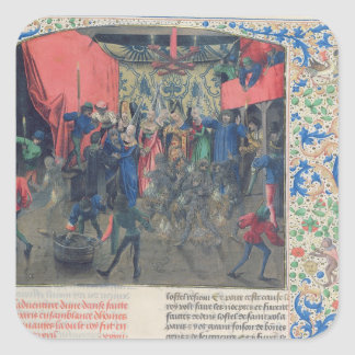 Bal des Ardents', Charles being saved Square Sticker
