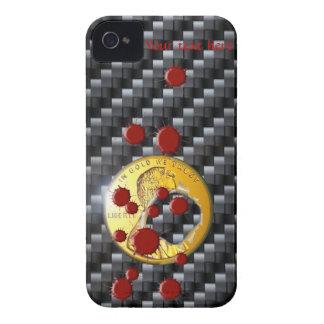 bala 3D de la sangre de la moneda de oro del carbo iPhone 4 Funda