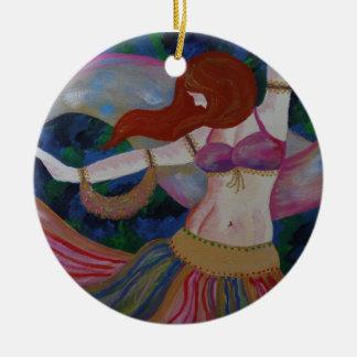 Baladi, ornamento hermoso del arte de la bailarina adorno navideño redondo de cerámica