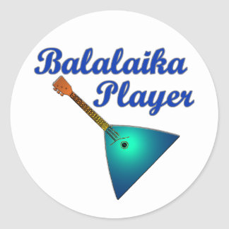 Balalaika Player Classic Round Sticker