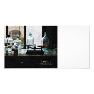 Balance and Bottles in Chem Lab Photo Card Template