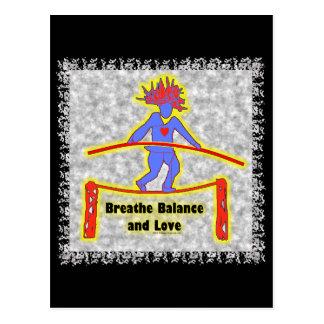 Balance Breath & Love On Gray Postcard