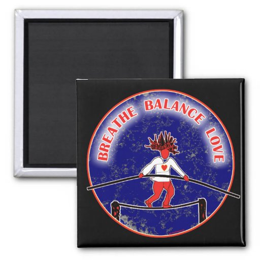 Balance Breath Love Red White Blue 2 Inch Square Magnet