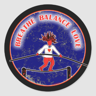 Balance Breath Love Red White Blue Classic Round Sticker