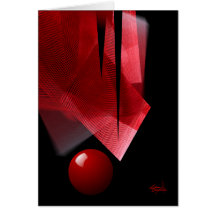 Balance red & black abstract greeting cards