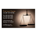 Balance scales court reporter business cards