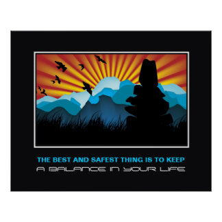 Balance stone pile in mountains motivational print
