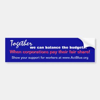 Balance the budget (corporations) sticker car bumper sticker