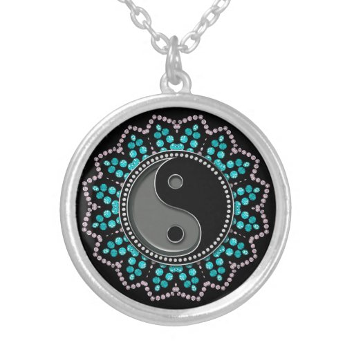 Balance YinYang Aqua Black New Age Sparkle Silver Plated Necklace