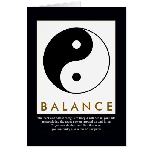 balance yoga yin yang with quote greeting cards