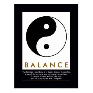 balance yoga yin yang with quote postcard