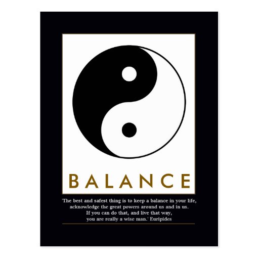 balance yoga yin yang with quote post cards