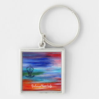 Balance Your Life Silver-Colored Square Keychain