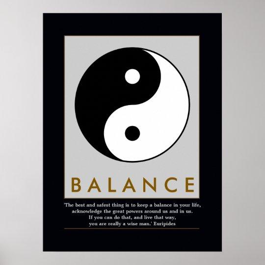 Balance Zen Yin Yang Quote Poster Zazzlecom
