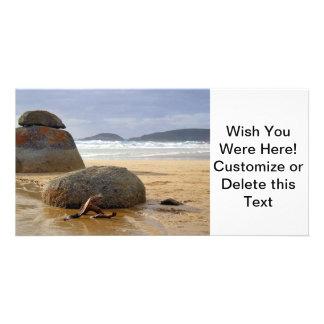 Balanced Rocks and Driftwood on Australian Beach Card