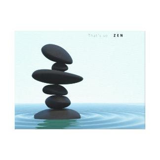 Balanced Zen Stones Rippling Shallow Water Canvas Print