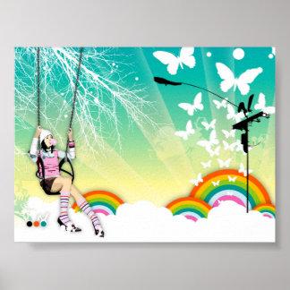 Balancéelo hacia fuera poster del arco iris