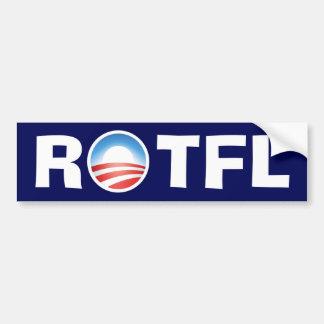 Balanceo de ROTFL en el piso que se ríe de Obama Etiqueta De Parachoque