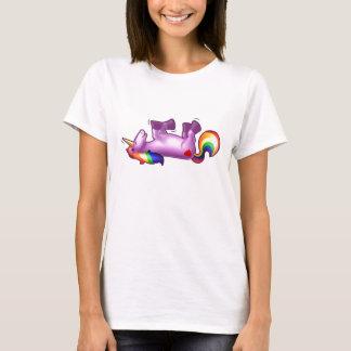 Balanceo del unicornio en la risa del piso playera