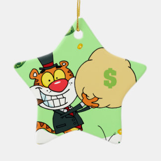 Balanceo feliz del tigre en el dinero adorno