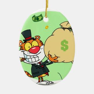 Balanceo feliz del tigre en el dinero adorno de reyes