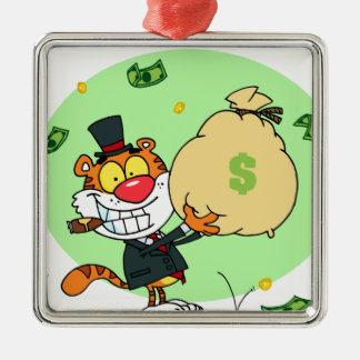 Balanceo feliz del tigre en el dinero adornos de navidad