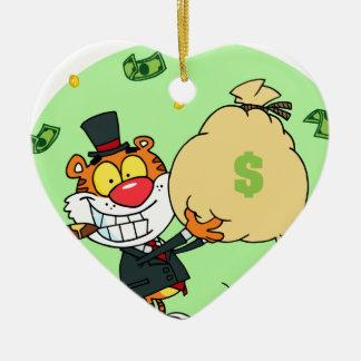 Balanceo feliz del tigre en el dinero ornamentos de navidad