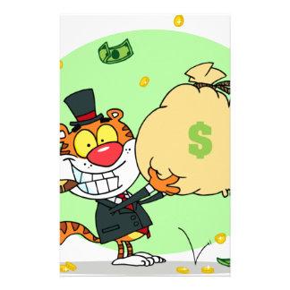Balanceo feliz del tigre en el dinero papeleria personalizada