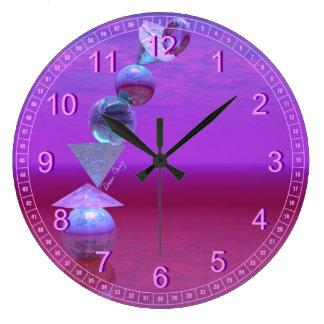 Balancing - Abstract Fuchsia & Violet Equilibrium Wall Clocks