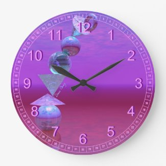 Balancing - Abstract Fuchsia & Violet Equilibrium Wall Clocks