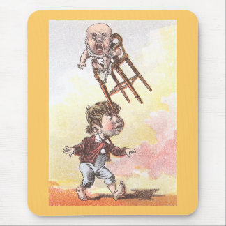Balancing Act with Baby in Highchair Victorian Mouse Pad
