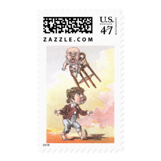 Balancing Act with Baby in Highchair Victorian Stamp
