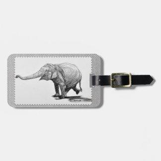 Balancing Elephant On Faux Grey Flannel Luggage Tag