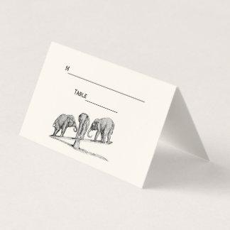Balancing Elephants Seesaw Place Escort Card Ivory