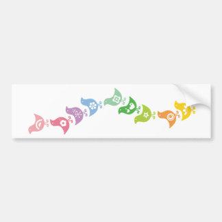Balancing Retro Rainbow Chicks Custom Long Sticker