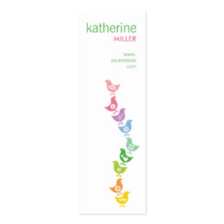 Balancing Retro Rainbow Chicks Whimsy Profile Card Double-Sided Mini Business Cards (Pack Of 20)