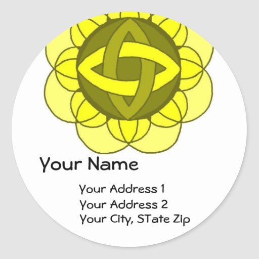 """Balancing the Solar Plexus"" Address Label Classic Round Sticker"