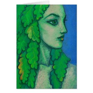 Balanis, dryad, green leaves, forest goddess, art card