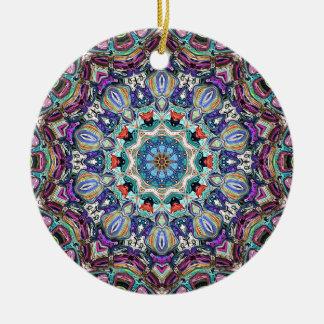 Balanza del color 1 adorno navideño redondo de cerámica