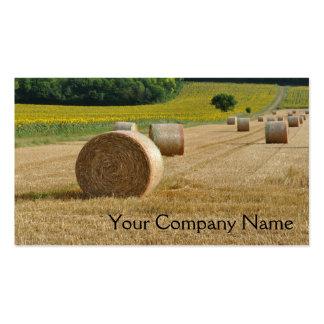 Balas agrícolas de la paja en un campo tarjetas de visita