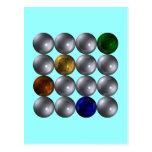 Balas cuadrado cuatro colores spheres square postales