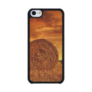 Balas de la paja en tierras de labrantío con el funda de iPhone 5C slim arce