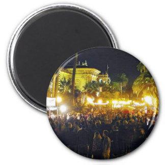 Balboa Park Crowds Nighttime Palm Trees Lights Refrigerator Magnets