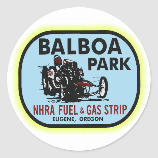 Balboa Park Drag Strip Classic Round Sticker