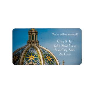 Balboa Park San Diego Mosaic Dome Wedding Label