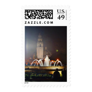 Balboa Parks Towers Fountains Night Postage Stamp