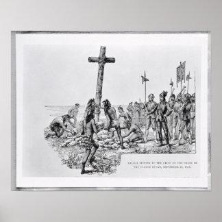Balboa que pone la cruz en la orilla poster