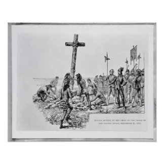 Balboa Setting up the Cross on the Shore Poster