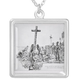 Balboa Setting up the Cross on the Shore Square Pendant Necklace